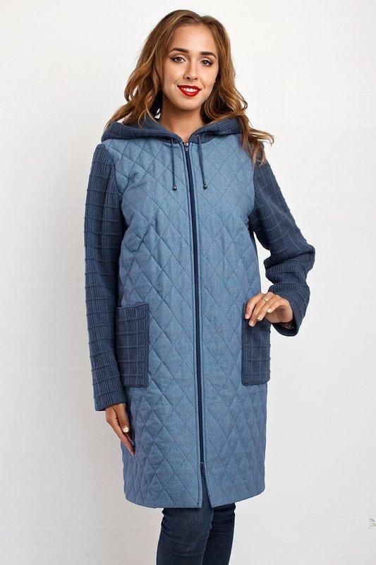 Серое стеганое пальто с капюшоном и трикотажными вставками на замочке