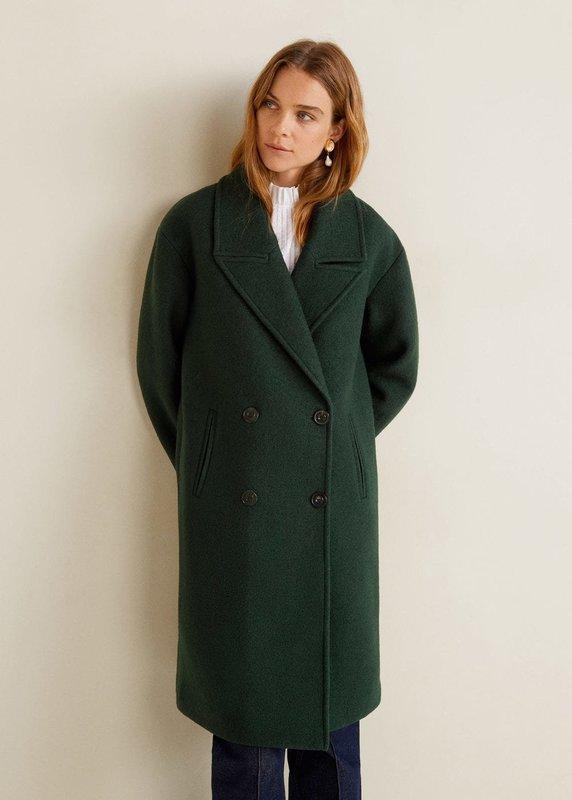 Зеленое двубортное пальто оверсайз