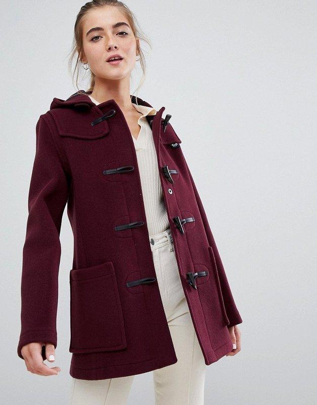 Бордовое пальто дафлкот