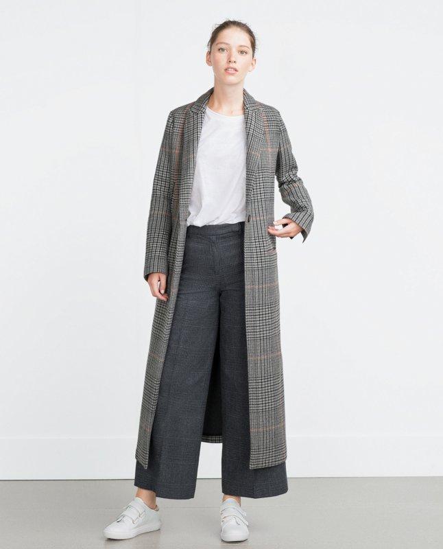 Серое удлиненное пальто с принтом гусинная лапка и брюки-кюлоты