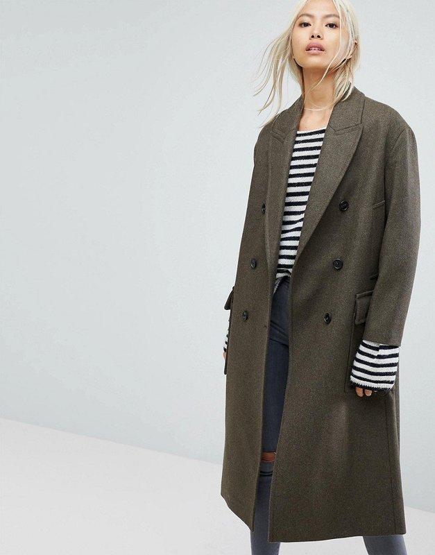 Серое двубортное пальто оверсайз средней длины