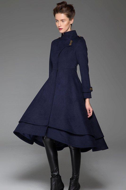 Синее пальто-платье
