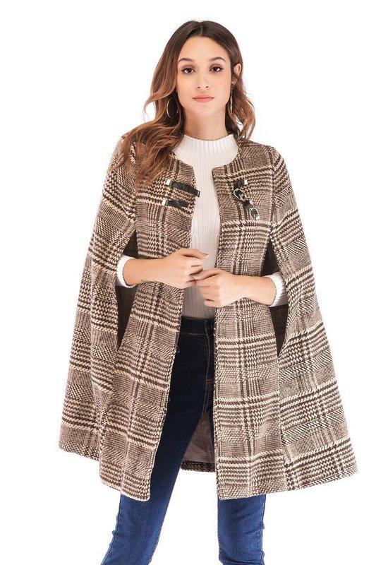 Твидовое пальто-кейп в клетку
