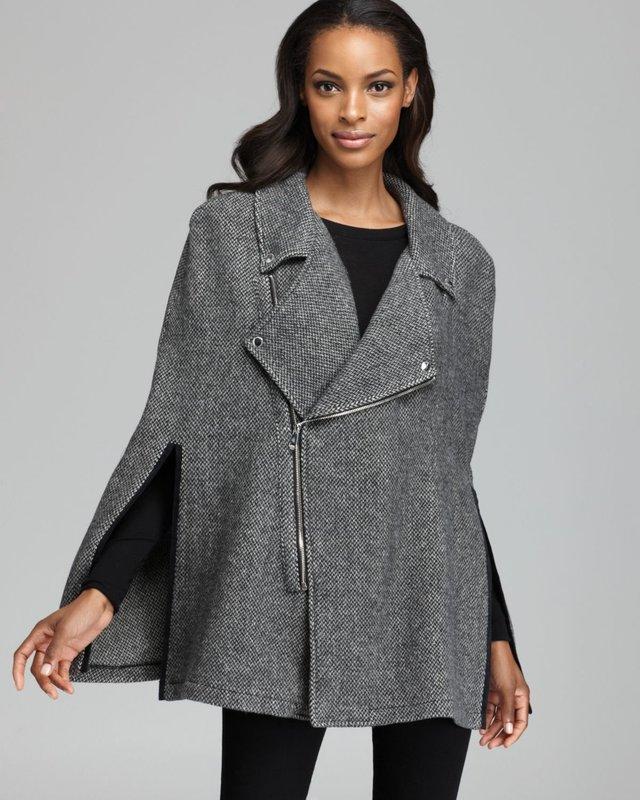 Серое твидовое пальто-кейп на молнии