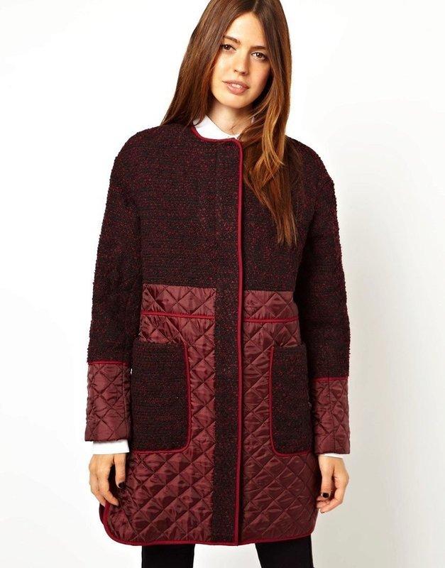 Бордовое пальто со стегаными вставками на рукавах и подоле