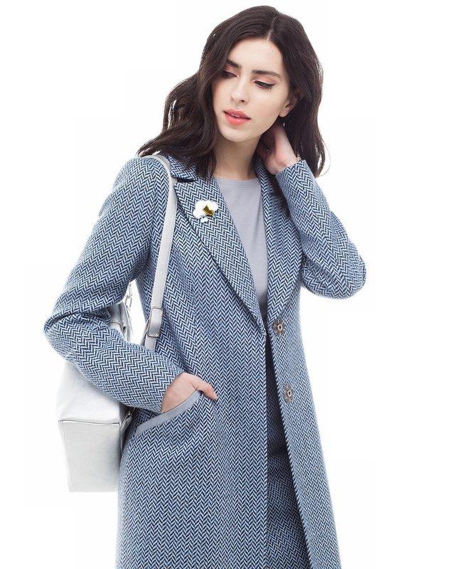 Серое твидовое пальто-пиджак