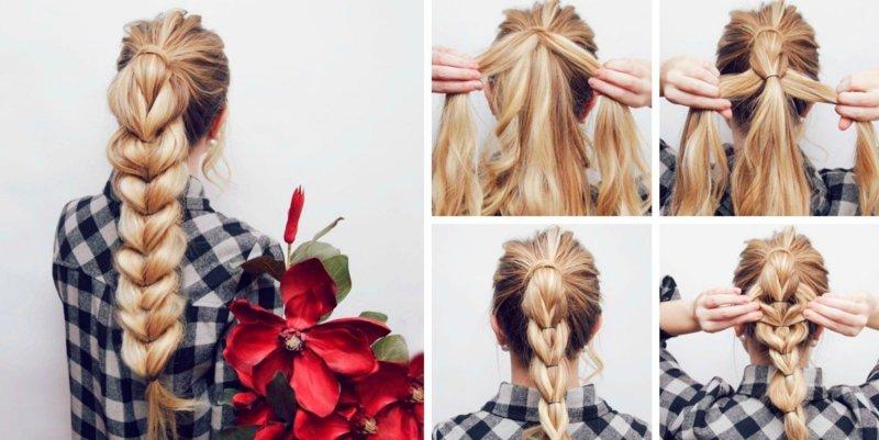 """Прическа """"Высокая объемная коса"""": поэтапно"""