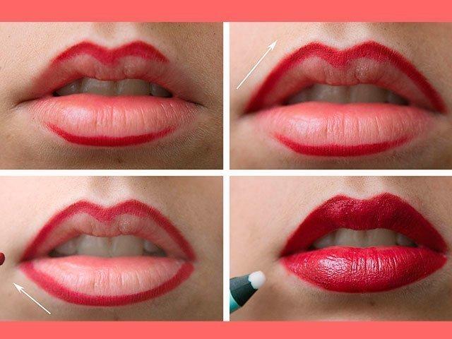 как накрасить губы