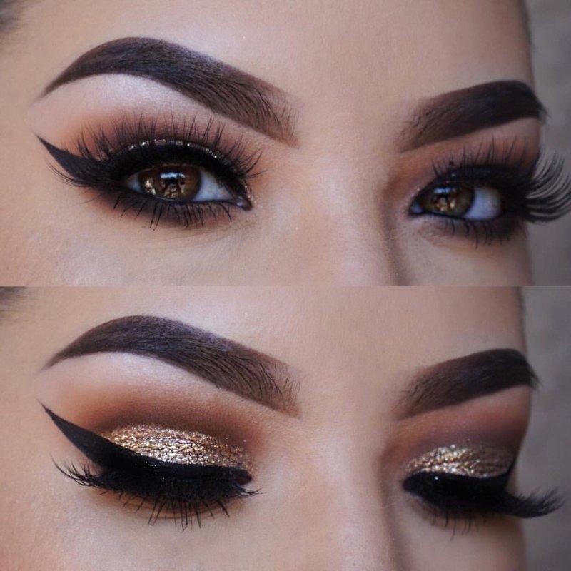 Золотистый новогодний макияж