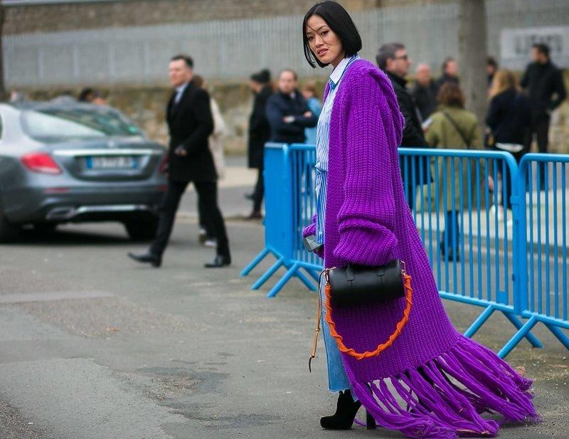 Фиолетовый кардиган оверсайз