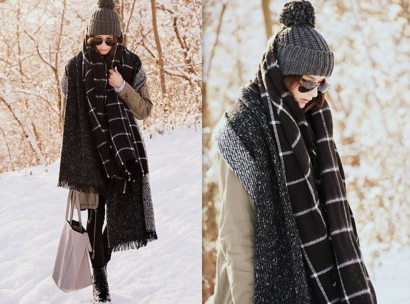 Зимний женский палантин: стильный look