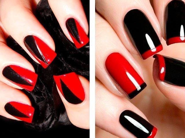 Дизайн ногтей  2018 красные с черным