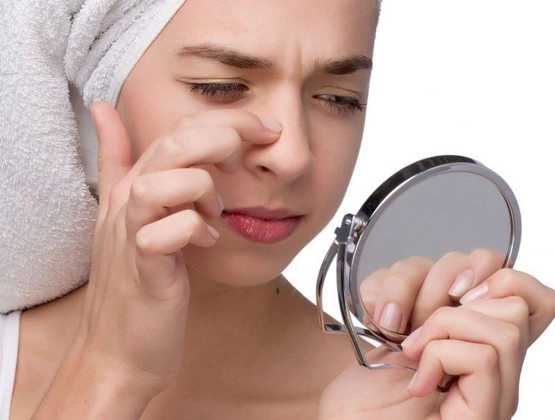 Исследование носа на наличие черных точек