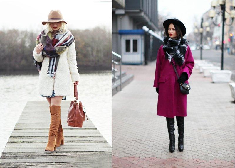 Зимний шарф палантин в сочетание со шляпой