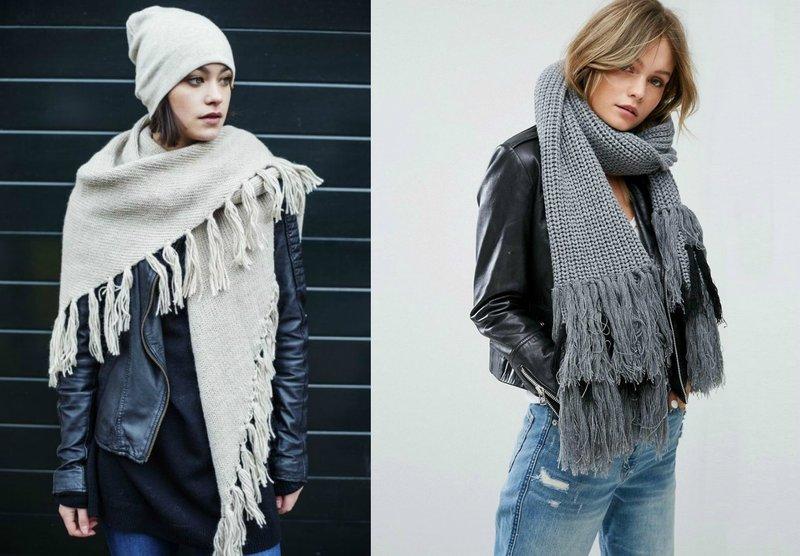 Модные женские шарфы с бахромой