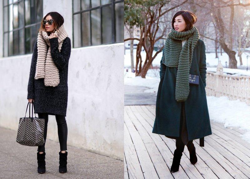 Модные вязанные шарфы: стильные образы