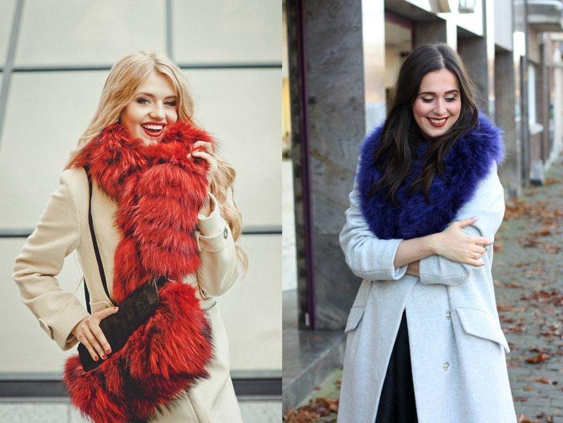 Яркий шарф из меха: стильные зимние образы