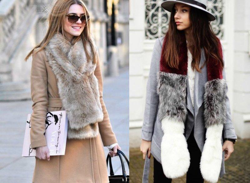 Модные женские образы с меховым шарфом