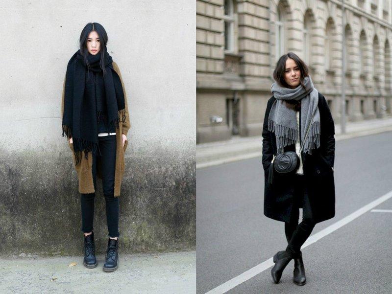 Длинный шарф с бахромой: образ в пальто