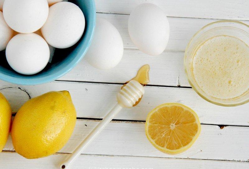 Лимон, мед и яйца для приготовления очищающей маски