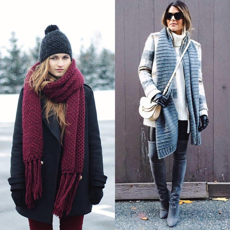 Длинные вязанные шарфы необычной вязки