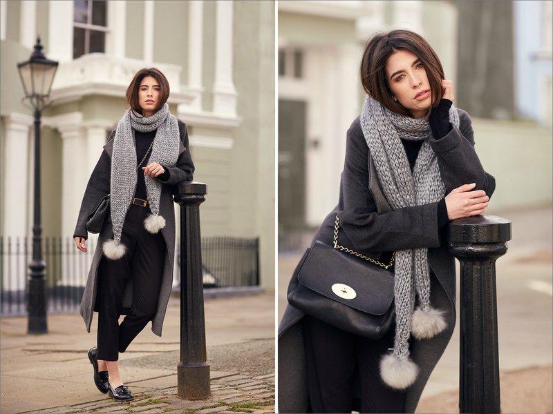Длинные модели зимних шарфов