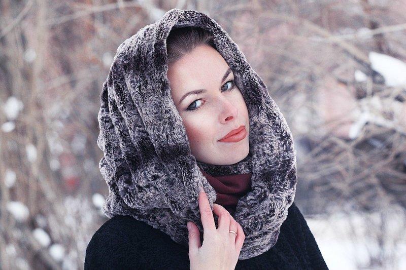 Зимний меховой шарф