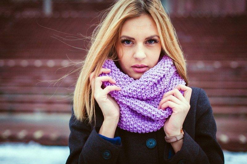 Нежный шарф снуд