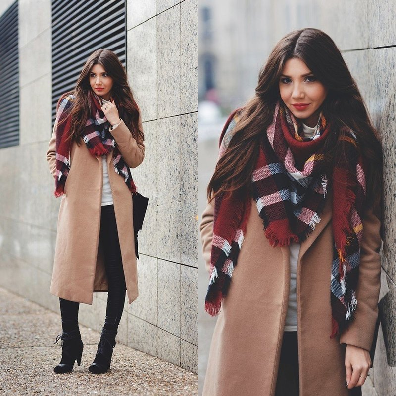 Палантин и пальто: образ на зиму