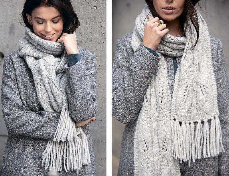 Вязанный шарф с бахромой