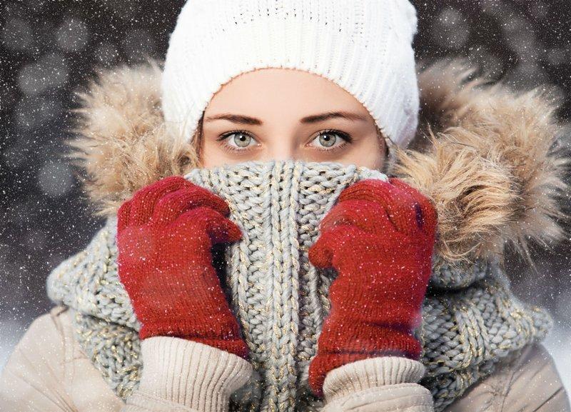Теплый шарф снуд
