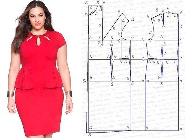 Выкройка платья для полных 60 размер