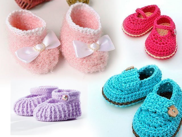 Пинетки крючком схемы и описание для новорожденных
