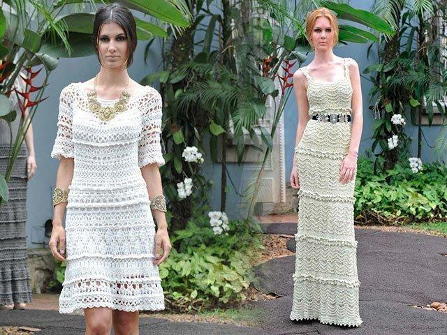Вязаные платья для женщин крючком со схемами и описанием