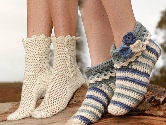 скачать видео вязание крючком носков