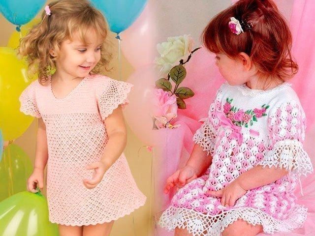детские платья крючком со схемами и описанием