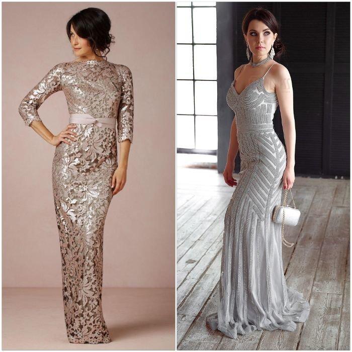 Элегантные платья серебристого цвета