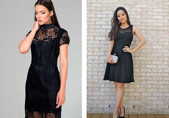 Черные платья, декорированные кружевом и сеткой