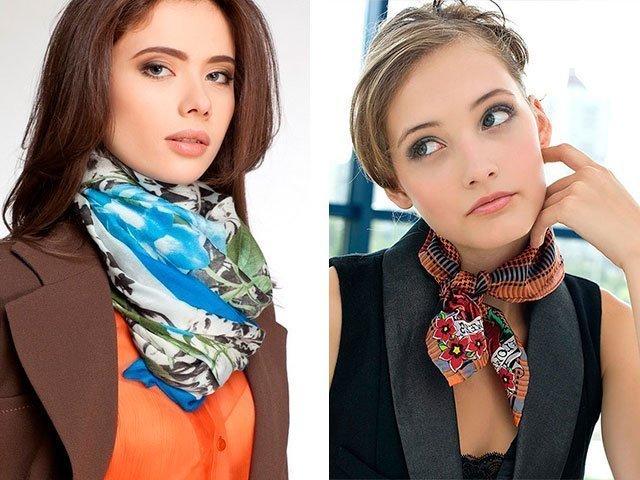 Тонкий шарфик к платью завязываем красиво