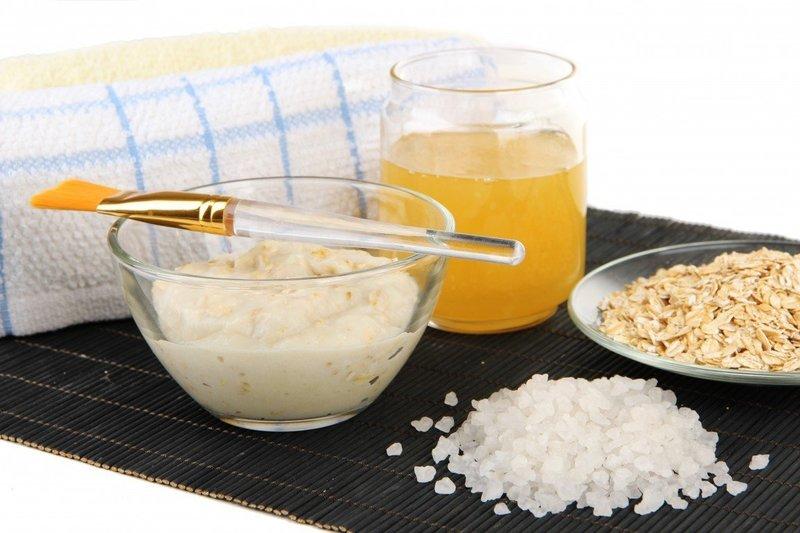 Ингредиенты для маски с овсянкой и солью