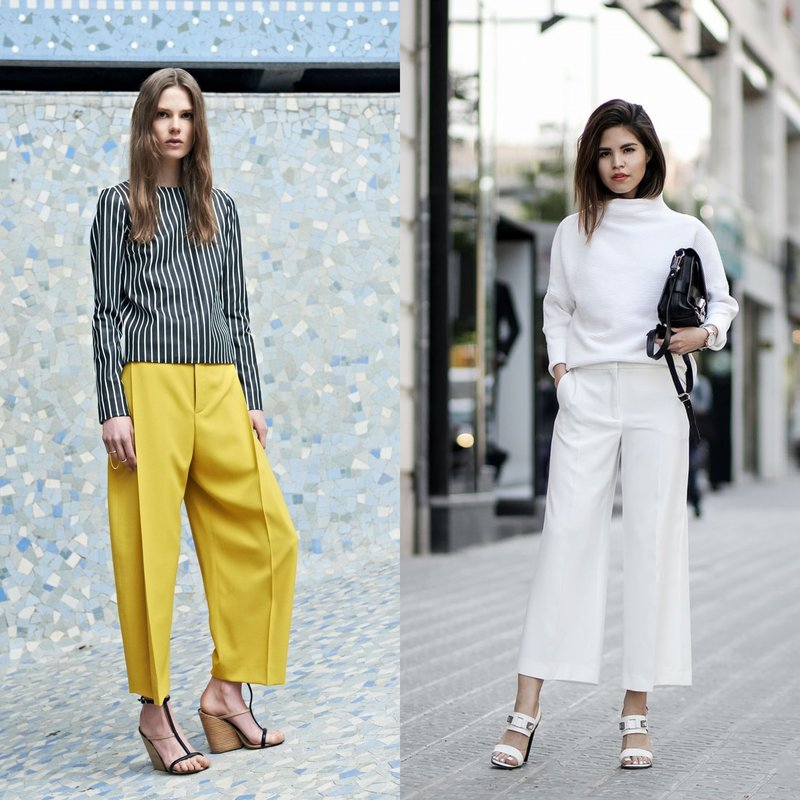Укороченные брюки клеш весна-лето