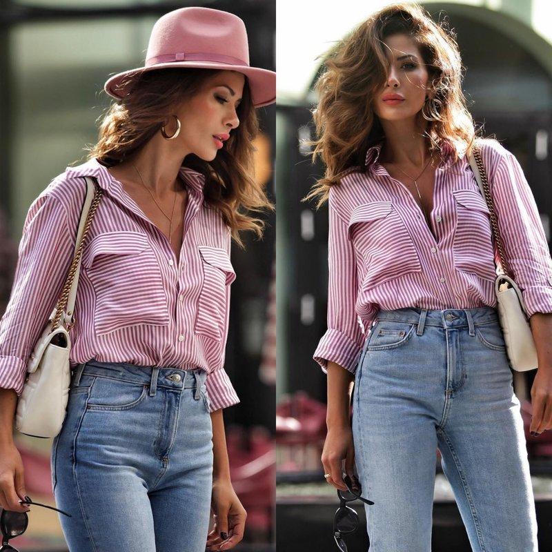 Модный образ в весенней рубашке