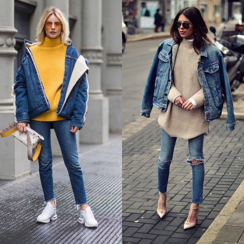 Весенний образ в джинсовой куртке оверсайз