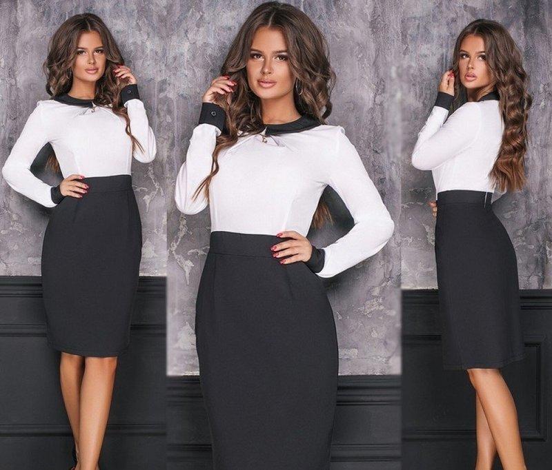 Черное-белое офисное платье