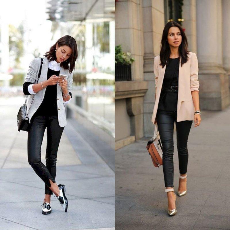 Стильный лук в длинном пиджаке