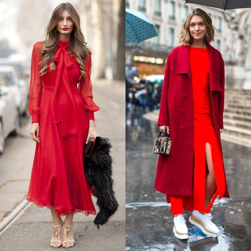 Весенний look в длинном красном платье