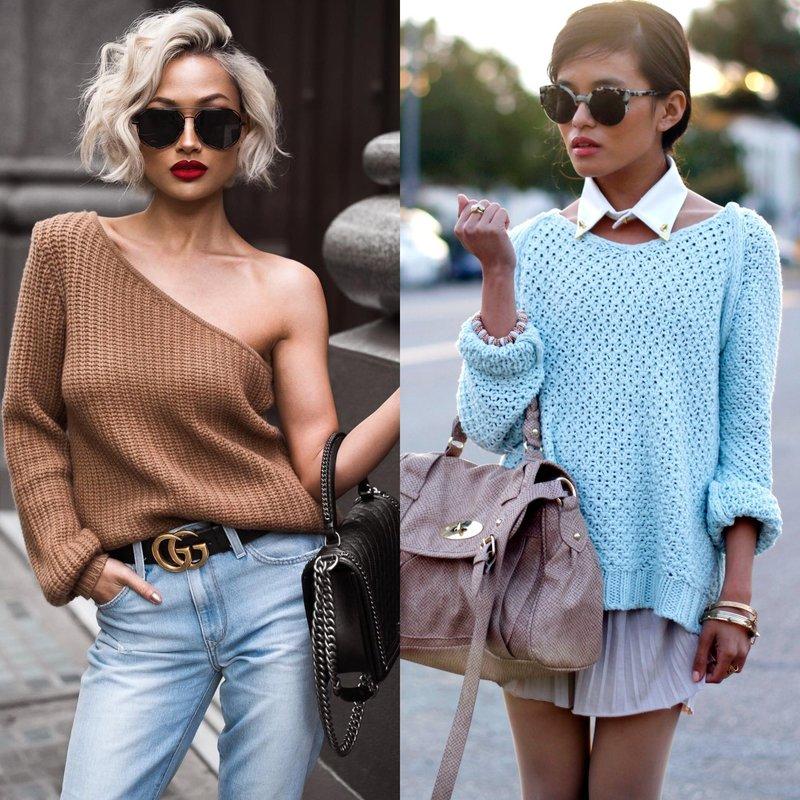 Стильные луки на весну в свитере