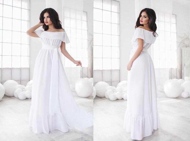 Белое свадебное шифоновое платье