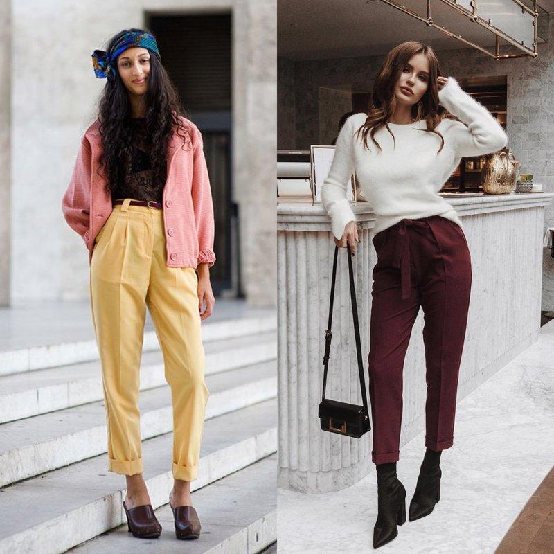 Яркие брюки на весну с высокой талией