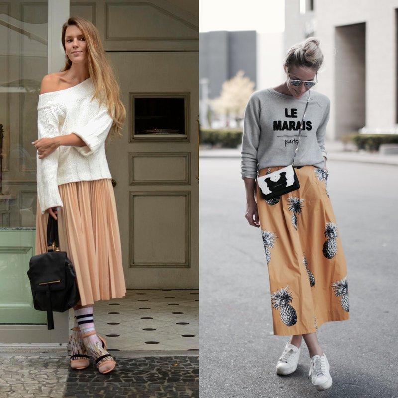 Девушки в модных юбках весной